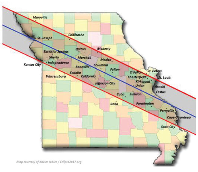 Eclipse 2017 Missouri Map