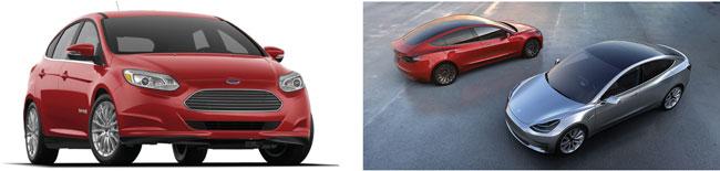 Ford Focus EV And Tesla 3