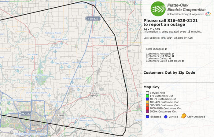Platte Clay Area Outage Map » Platte Clay Electric Cooperative